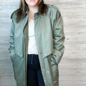 Vintage Gallery Funnel Neck Trench Coat Green sz X